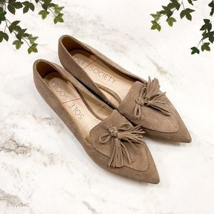 NWT Sole Society Hadlee Tassel Loafer Flats Taupe